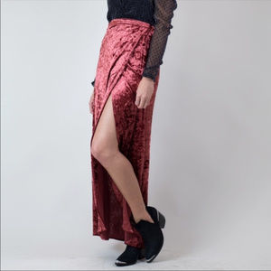 NWT Band of Gypsies Crushed Velvet Wrap Maxi Skirt